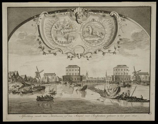 estampe - Afbeelding vande twee Blokhuizen op den Amstel voor Amsterdam, gebouwt in het jaar 1650.