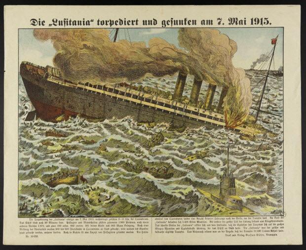 "estampe - Die ""Lufitania"" torpediert und gesunfem am 7. Mai 1915."