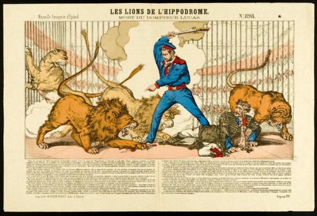 estampe - LES LIONS DE L'HIPPODROME. MORT DU DOMPTEUR LUCAS.