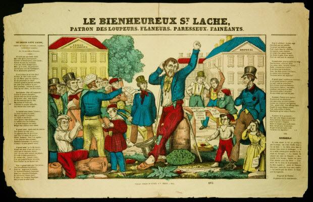 estampe - LE BIENHEUREUX ST. LACHE, PATRON DES LOUPEURS, FLANEURS, PARESSEUX, FAINEANTS.