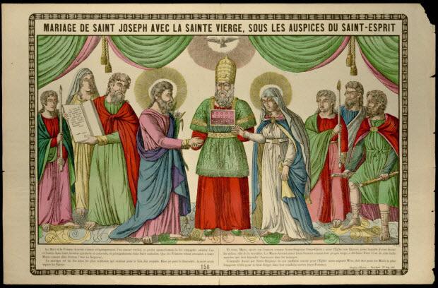 estampe - MARIAGE DE SAINT JOSEPH AVEC LA SAINTE VIERGE, SOUS LES AUSPICES DU SAINT-ESPRIT