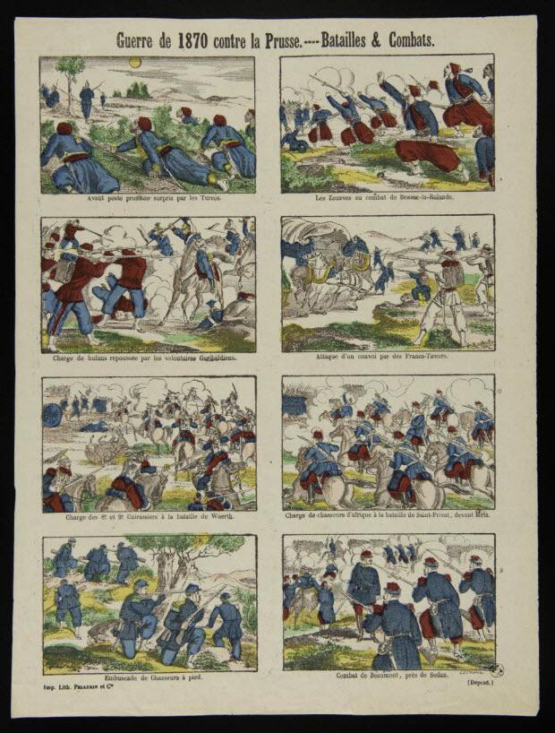 estampe - Guerre de 1870 contre la Prusse. - Batailles et Combats.