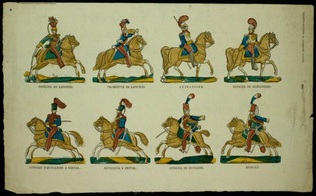 imagerie ancienne - Planche de militaires