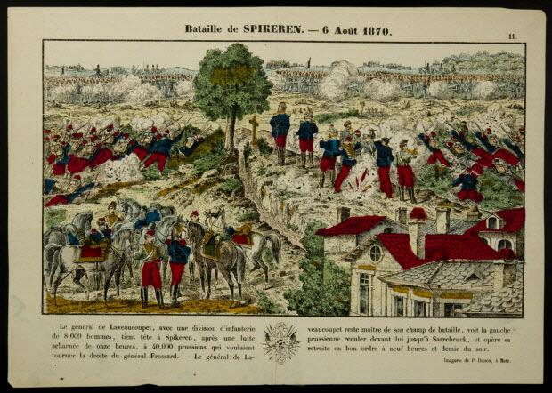 imagerie ancienne - Bataille de SPIKEREN. - 6 Août 1870