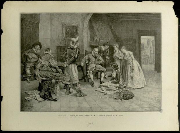estampe - Tireuse de cartes, tableau de M. J. Caballero