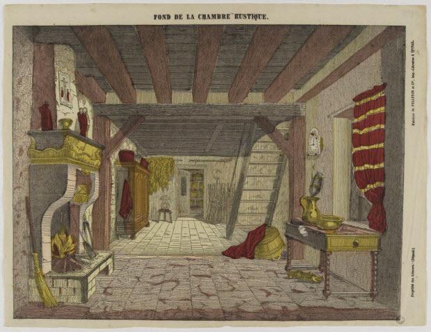 estampe - FOND DE LA CHAMBRE RUSTIQUE.