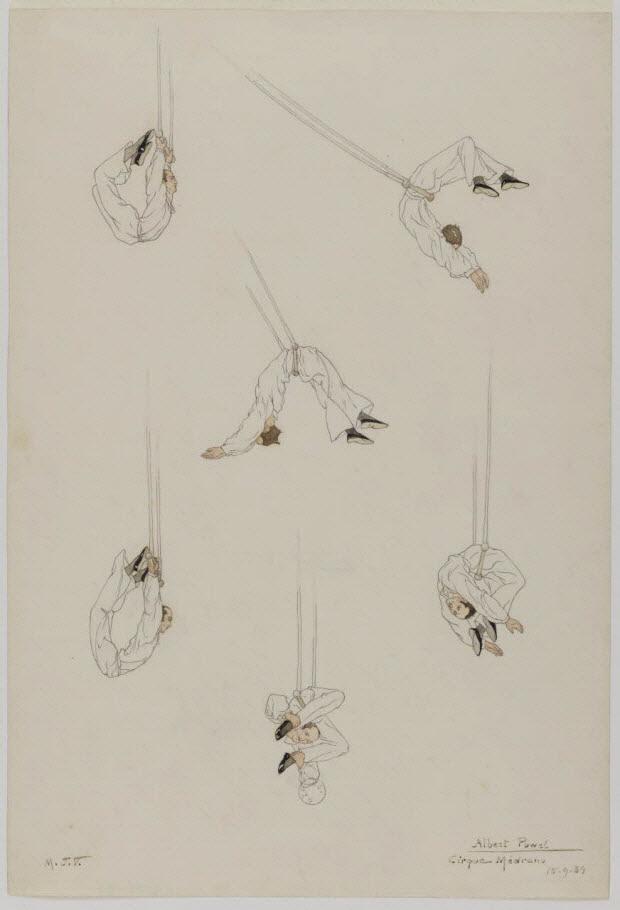 partie d'un ensemble de dessins - Numéro de cirque : Albert Powel