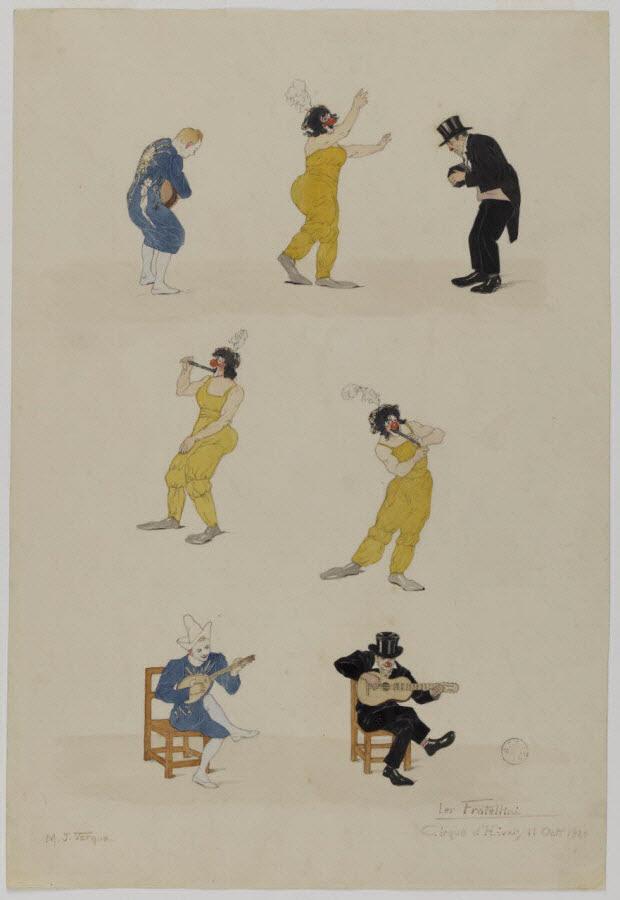 partie d'un ensemble de dessins - Numéro de cirque : les Fratellini