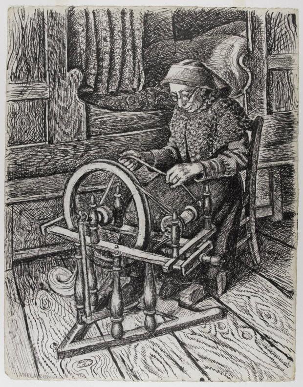 dessin - Marie Cadet, dite Cohade, filant au rouet