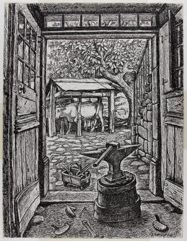 dessin - Ferrage de bovins à Rochefort-Montagne