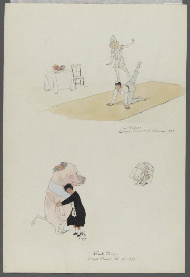 dessin - Numéros de cirque : les Savoir et Frank Pichel