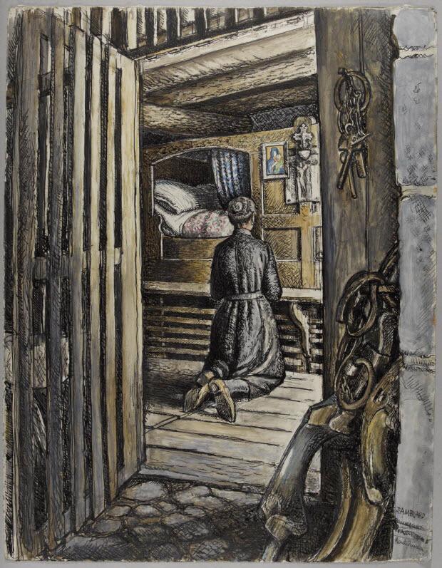 dessin - Mariette Sembel priant devant un lit wagon