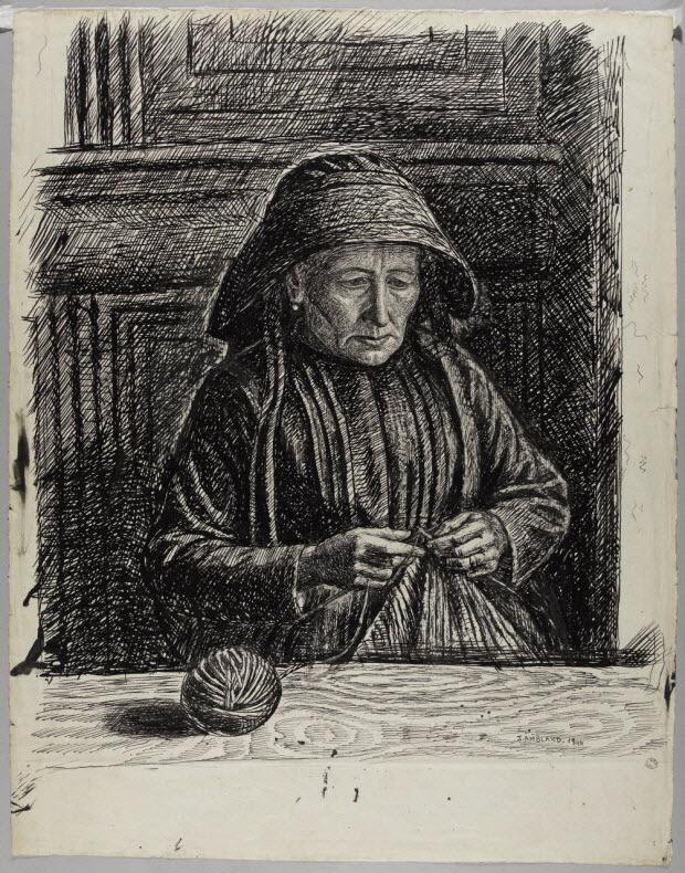 dessin - Mme Mégémont tricotant