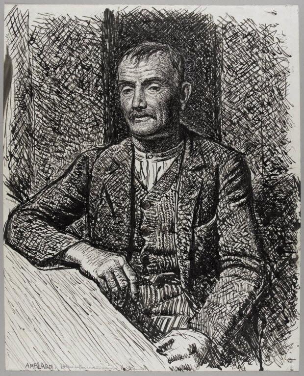 dessin - Portrait d'Antoine Gauffier conseiller municipal à Montcheneix (Puy-de-Dôme)