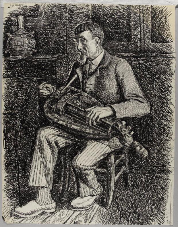 dessin - Pierre Baptissard jouant de la vielle