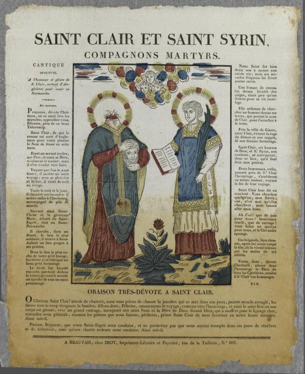imagerie ancienne - SAINT CLAIR ET SAINT SYRIN, COMPAGNONS MARTYRS.