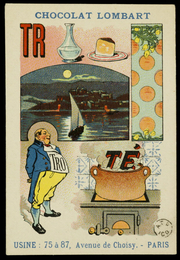 carte réclame - Rébus : Trop parler nuit, trop gratter cuit
