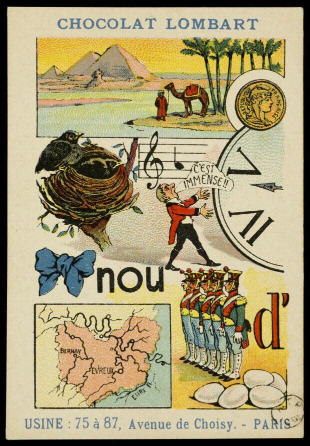 carte réclame - Rébus : Ni l'or ni la grandeur ne nous rendent heureux