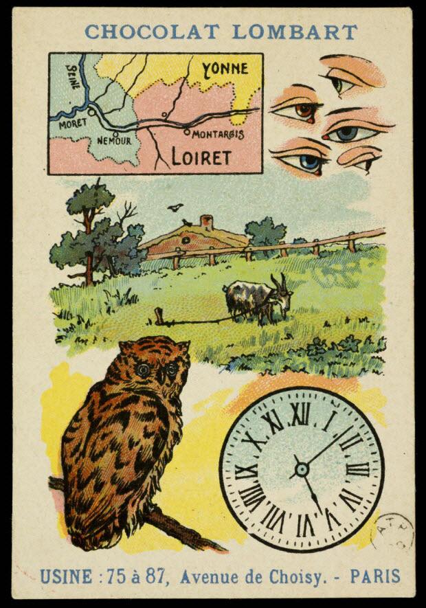 carte réclame - Rébus: Loin des yeux, près du coeur
