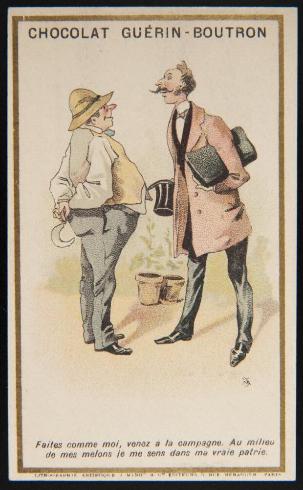 carte réclame - Conversation entre un campagnard et un citadin