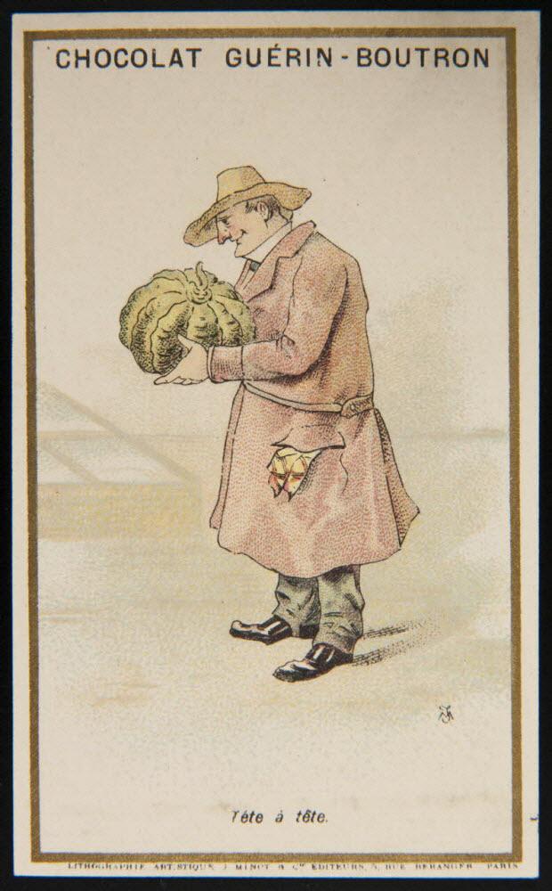 carte réclame - Jardinier regardant un melon avec admiration