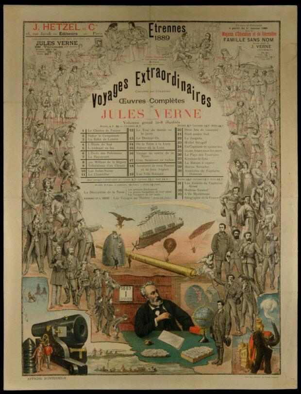 affiche - Etrennes 1889 Voyages Extraordinaires Jules Verne