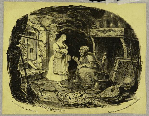 estampe - Jeune fille chez une sorcière