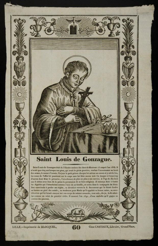 imagerie ancienne - Saint Louis de Gonzague.