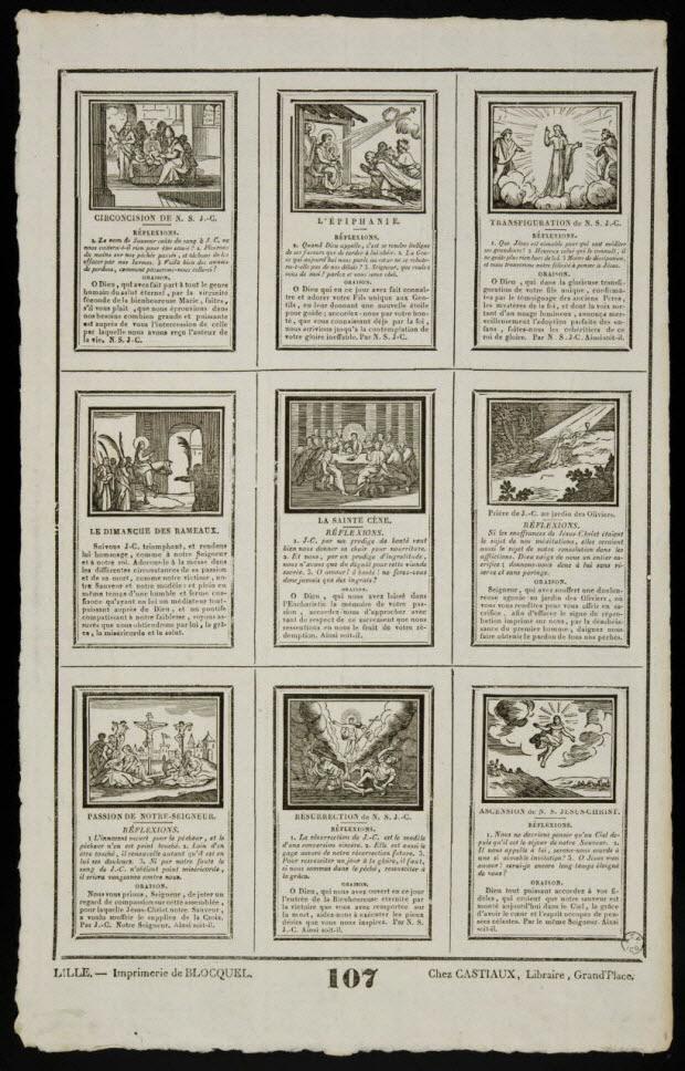 imagerie ancienne - Planche de saintetés
