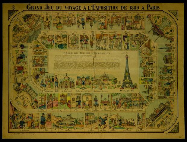 jeu de l'oie - GRAND JEU DU VOYAGE A L'EXPOSITION DE 1889 A PARIS