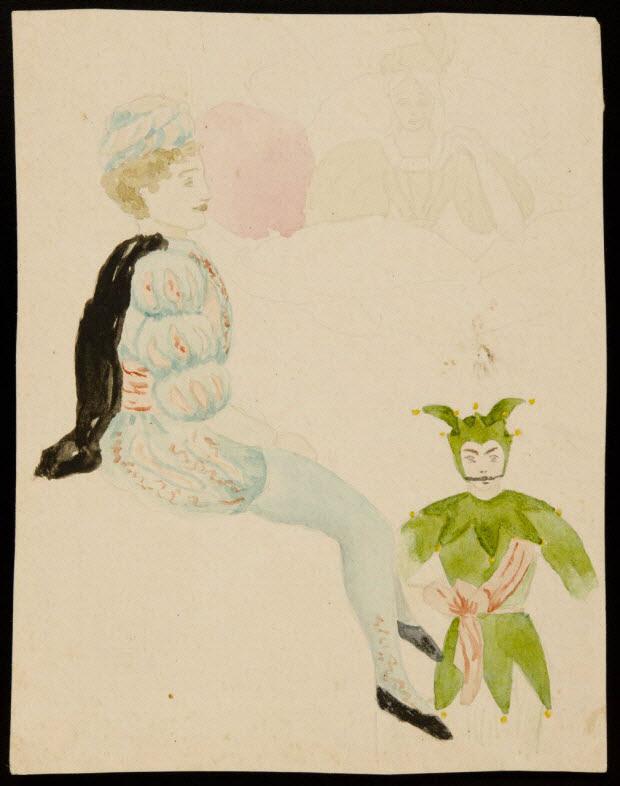 partie d'un ensemble de dessins - Hommes et femme en costume de théâtre