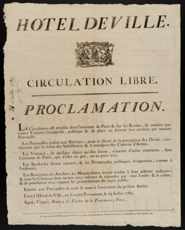 imagerie ancienne - HOTEL DE VILLE. CIRCULATION LIBRE. PROCLAMATION