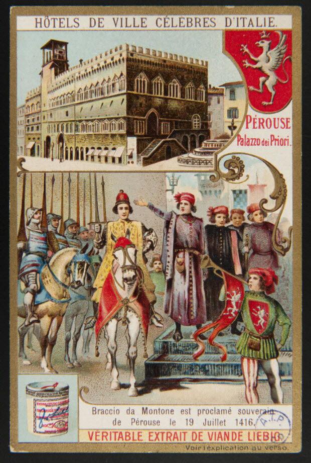 carte réclame - HOTELS DE VILLE CELEBRES D'ITALIE. PEROUSE Palazzo dei Priori.