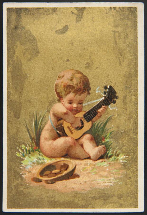 carte réclame - Enfant nu jouant de la guitare