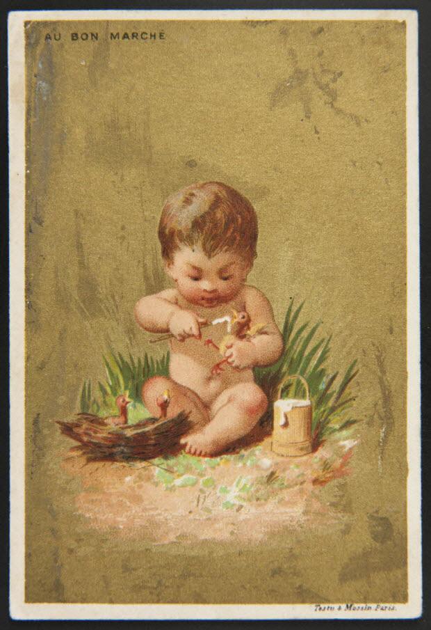 carte réclame - Enfant nourissant un oisillon