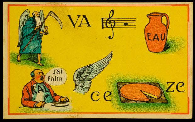 carte réclame - Rébus : tant va la cruche à l'eau qu'à la fin elle se brise