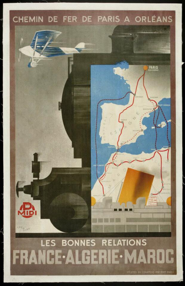 affiche - CHEMIN DE FER DE PARIS A ORLEANS LES BONNES RELATIONS FRANCE ALGERIE MAROC