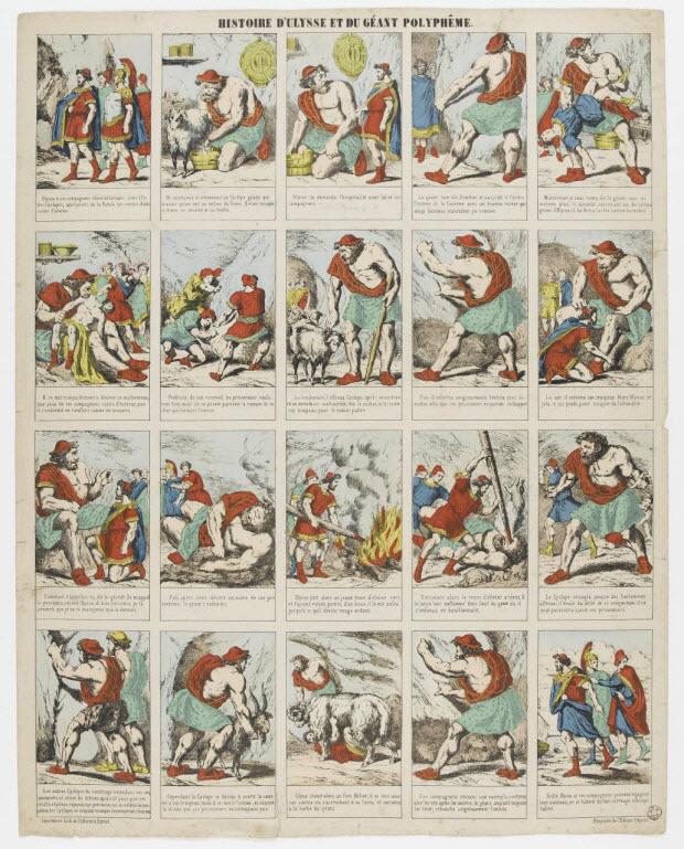 à compartiments (5x4) - HISTOIRE D'ULYSSE ET DU GEANT POLYPHEME.