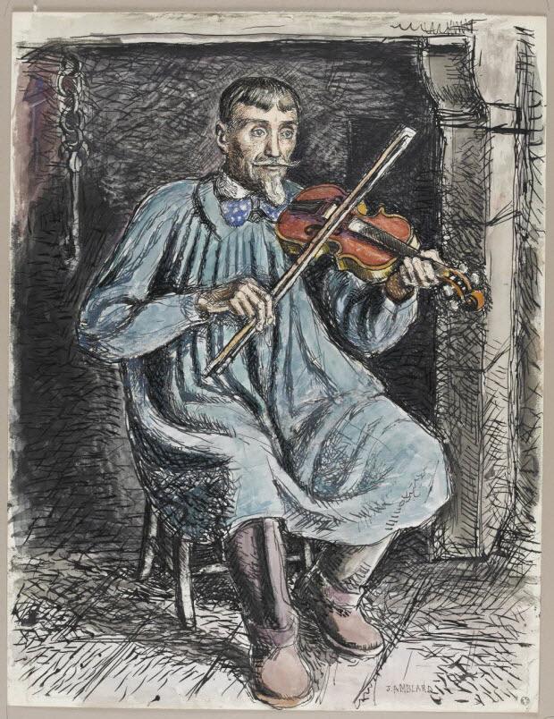 dessin - Pierre Baptissard jouant du violon à Rochefort-Montagne