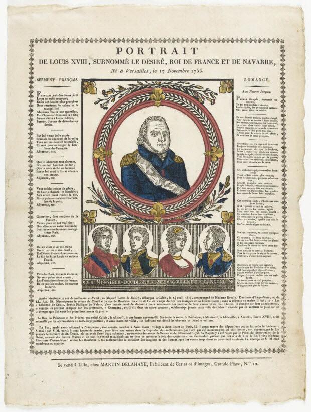 imagerie ancienne - PORTRAIT DE LOUIS XVIII, SURNOMME LE DESIRE, ROI DE FRANCE ET DE NAVARRE, Né à Versailles le 17 Novembre 1755.