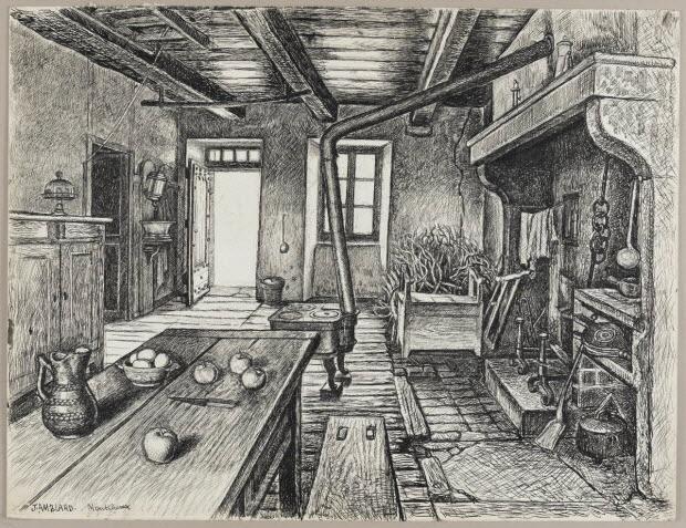 dessin - Salle commune de la maison de Jean Amblard et de sa mère à Montcheneix (Puy-de-Dôme)