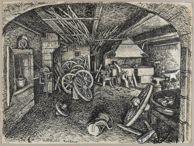 dessin - La forge de Baptiste Brechard à Montcheneix (Puy-de-Dôme)