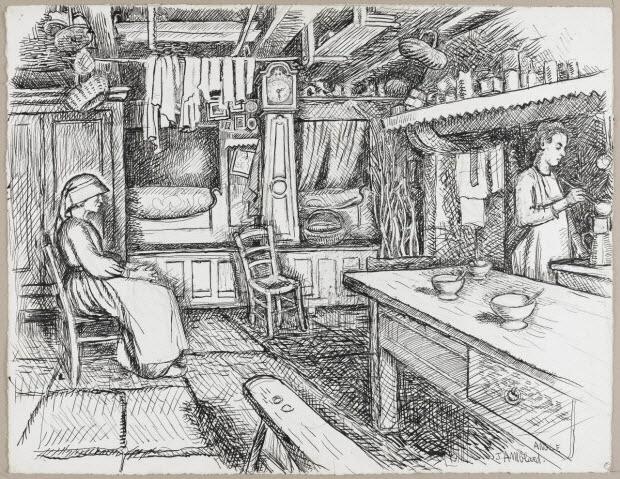 dessin - Lit clos dans la salle commune à Leffrais