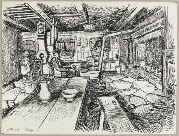 dessin - Salle commune avec lit clos à Angle