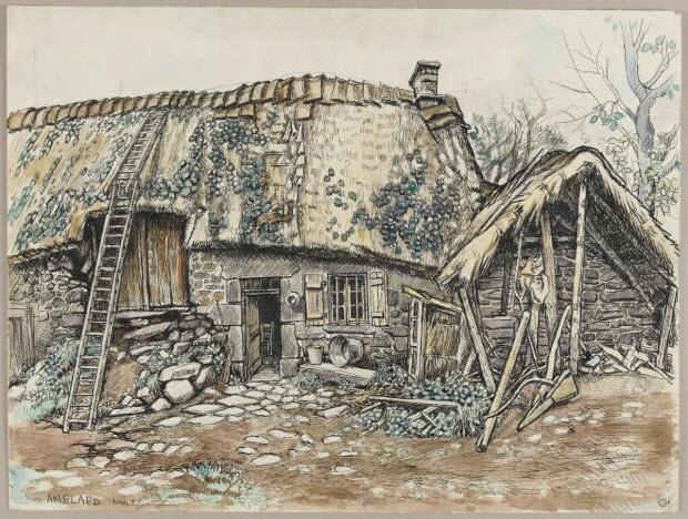 dessin - Maison en réparation à Rochefort-Montagne