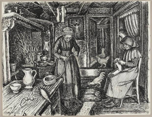 dessin - Mme Mégémont et Mère Chocol dans la salle commune de la maison de Mme Mégémont
