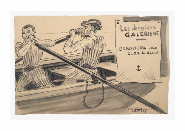 partie d'un ensemble de dessins - Les derniers GALERIENS CANOTIERS aux ILES du SALUT