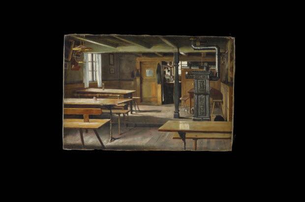 tableau - Intérieur de restaurant des environs de Strasbourg (Eckwersheim ?)
