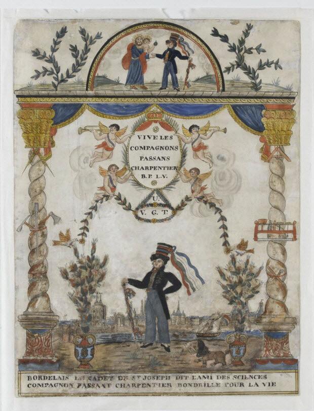 dessin - BORDELAIS LE CADET DE ST JOSEPH DIT L'AMI DES SCIENCES COMPAGNON PASSANT CHARPENTIER BONDRILLE POUR LA VIE
