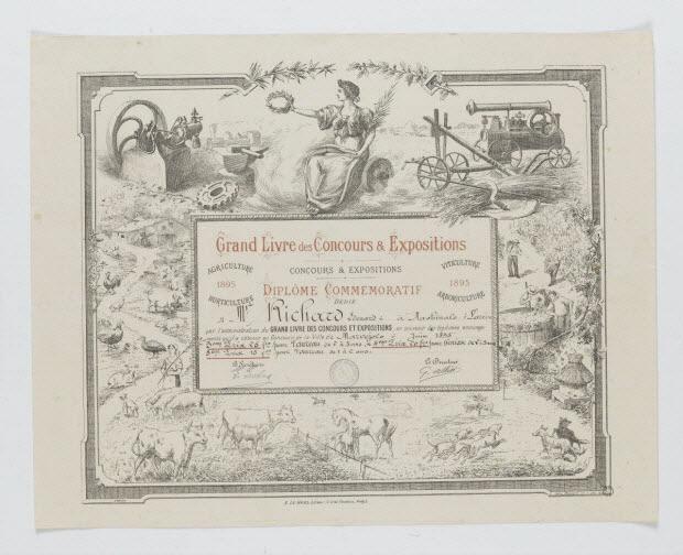 estampe - Grand Livre des Concours & Expositions DIPLOME COMMEMORATIF